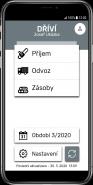 Domovská obrazovka aplikace Dříví