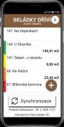 Domovská obrazovka aplikace Skládky dříví